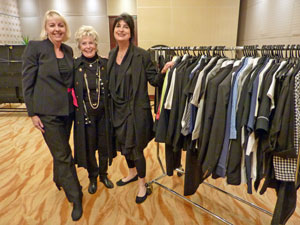Pictured preparing for the fashion show were, from left, Marie Brereton Designs' Melissa Bent, De'Ann Hesp and Marie Brereton