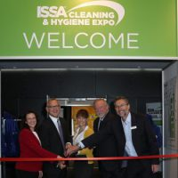 The opening of the first ISSA Cleaning & Hygiene Expo Australia. From left: Dianna Steinbach, ISSA, John Barrett, ISSA, Kim Taranto, ISSA, Stuart Nichol, Quipment and Simon Cooper, Interpoint Events