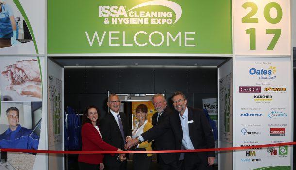 The opening of the first ISSA Cleaning & Hygiene Expo Australia. From left: Dianna Steinbach, ISSA, John Barrett, ISSA, Kim Taranto, ISSA, Stuart Nichol, Quipment and Simon Cooper, Interpoint Events