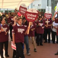Hospital cleaners protest outside Canberra hospital