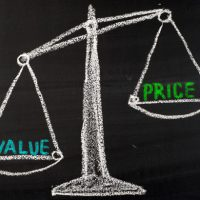 value and price concept drawing on blackboard